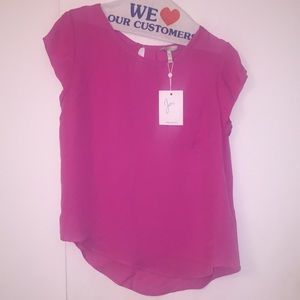 Joie short sleeve pink silk blouse